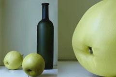 青苹果与酒瓶矢量素材