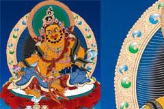 藏传佛教传统人物黄财神矢量素材