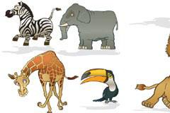 6款可爱搞怪卡通动物矢量素材