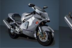 逼真的银色摩托车矢量素材