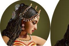 一款AI格式印度风情美女矢量素材