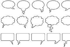 各种形状的实用线描对话框矢量素材