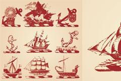几款古帆船矢量素材