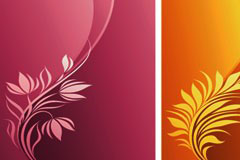 时尚植物花纹与动感线条背景矢量