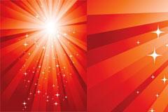 红色调闪光放射线背景矢量素材