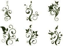 12款简洁实用的黑白植物花纹矢量素材