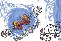 心形彩蝶潮流元素矢量素材