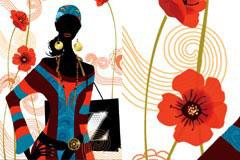 潮流服饰女孩剪影与花卉背景矢量素材