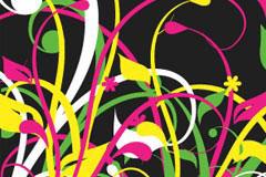 一款很有视觉冲击力的彩色草丛剪影矢量素材