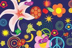 可爱抽象花朵背景矢量素材