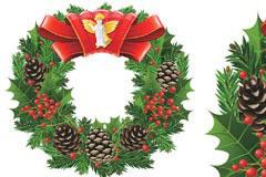 一款很漂亮的圣诞节花环矢量素材
