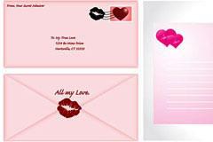 几款情书信封信纸矢量素材