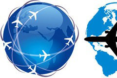 地球飞机和飞行航线矢量素材