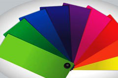 彩色卡纸与油漆桶图标矢量素材