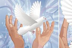 和平主题的手捧白鸽矢量素材