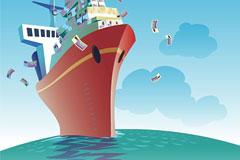 商业主题载满货币的轮船插画矢量素材