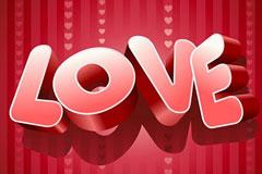 爱情主题LOVE立体字矢量素材