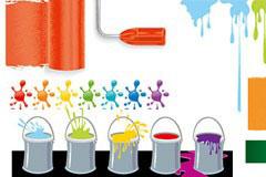 各种色彩的油漆及油漆点矢量素材