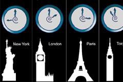世界各大时区著名建筑和时间矢量素材