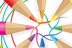 各种颜色的铅笔和线条矢量素材