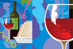 印象风格红酒杯和酒瓶矢量素材