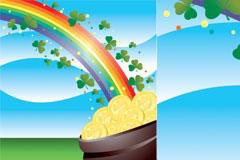 长满绿叶的彩虹矢量素材