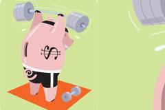 玩杠铃的可爱小猪矢量素材