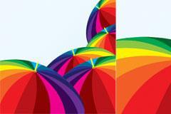 漂亮的彩色雨伞矢量素材