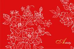一款中国风情牡丹花线描矢量素材