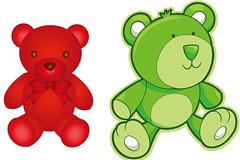 2款可爱的卡通玩具熊矢量素材