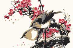 一幅小鸟梅花图工笔画矢量素材