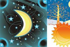 梦幻卡通月亮太阳矢量素材