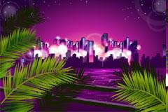 紫色调都市夜景矢量素材
