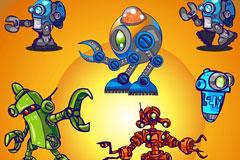可爱卡通机器人矢量素材