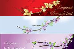 几款素雅花卉卡片模板矢量素材