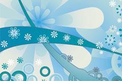 蓝色花卉花纹潮流背景矢量素材