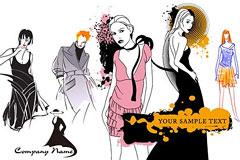 个性时尚手绘女模特矢量素材