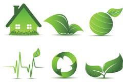 一组绿色环保图标矢量素材