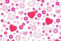 粉色心形花朵背景矢量素材