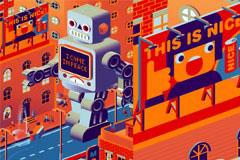 卡通机器人世界矢量素材