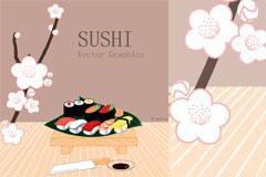 充满日式风味的寿司矢量素材