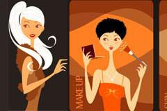 几款时尚化妆女孩插画矢量素材