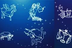 梦幻十二星座夜空矢量素材