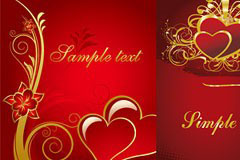 3款红色欧式风格心形矢量素材