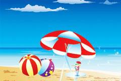 清凉假日海上风光矢量素材