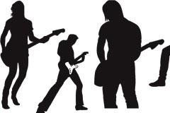 超酷的演唱会现场人物剪影矢量素材