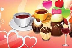 温馨浪漫西式糕点咖啡矢量素材