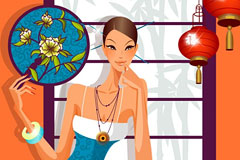 兼具古典和时尚风情的美女矢量素材
