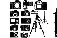 多款数码相机及脚架黑白剪影矢量