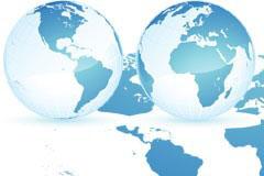 蓝色地球和世界地图矢量素材